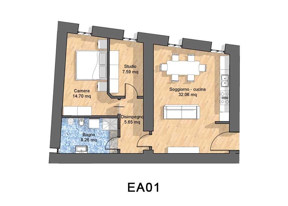Appartamenti in affitto a Treviso e Provincia , Trilocale con camera studio