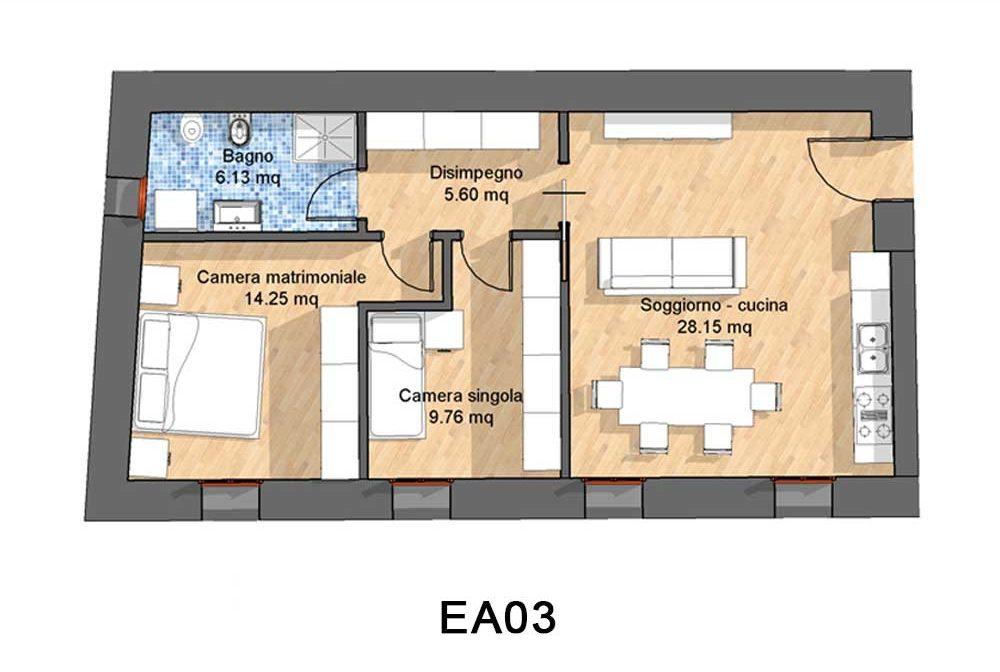 Appartamenti in affitto a Vittorio Veneto . Trilocale al piano terra di tipologia EA03
